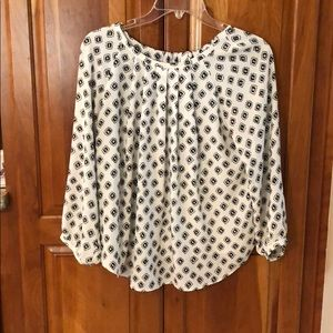 LOFT white and black blouse